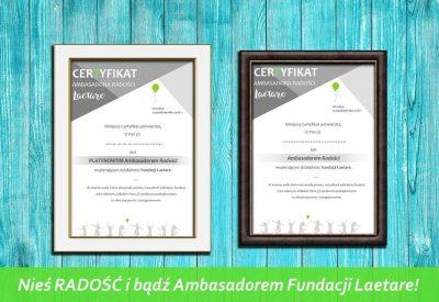 fundacja laetare certyfikaty ambasadorów